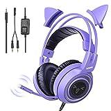 SOMiC G951S Violett Gaming Headset mit Mikrofon, Mädchen, Frauen...