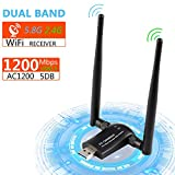 Wifi Adapter, 1200Mbit/s mit 5dBi Antenna, Dualband (5GHz...